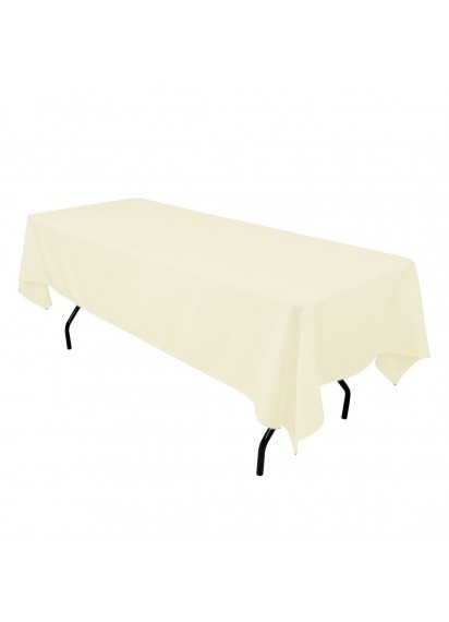 "Rectangular 70"" x 120"" Ivory Tablecloth"