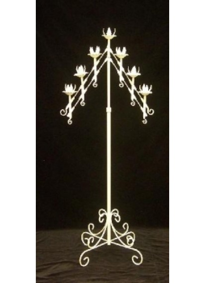 7 Arm Candle Holder White