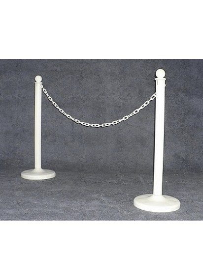 Stanchions White w/White Chain